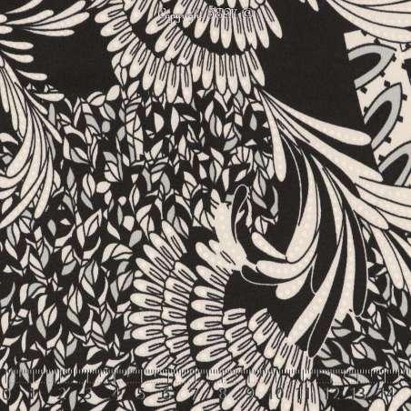 Jersey Cristal AMANDA Imprimé Gomme Ailes Phoenix Fond Noir