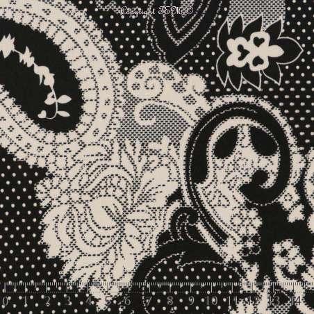 Jersey Cristal PYRENE Imprimé Gomme Pointillé Art Perse Fond Noir
