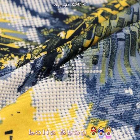 Jersey Cristal TYEDYE Imprimé Gomme Design 3D Ton Jaune
