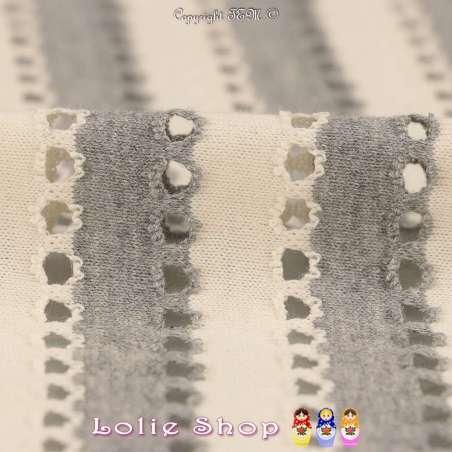 Jersey Coton Ajouré A Rayures Gris & Écru