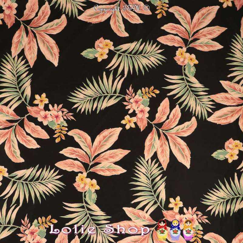 Coton Imprimé Motif Fleurs Tropicales Fond Noir