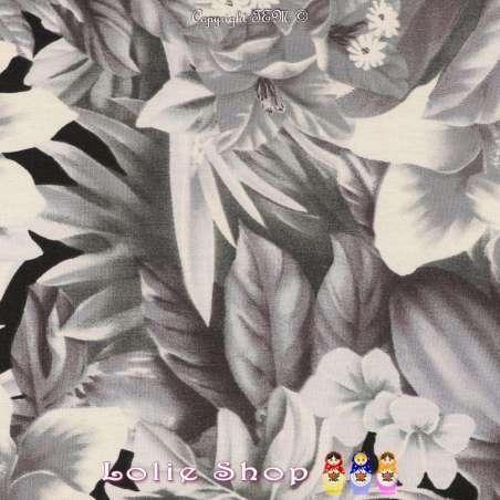 Coton Imprimé Motif Grandes Fleurs Tropicales Ton de Gris Fond Noir