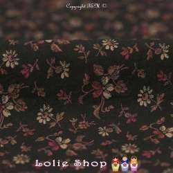 Coton Imprimé Motif Petites Compositions Florales Fond Noir
