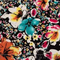 Floral Ton Turquoise Fond Noir - Photo 15x15 Cm