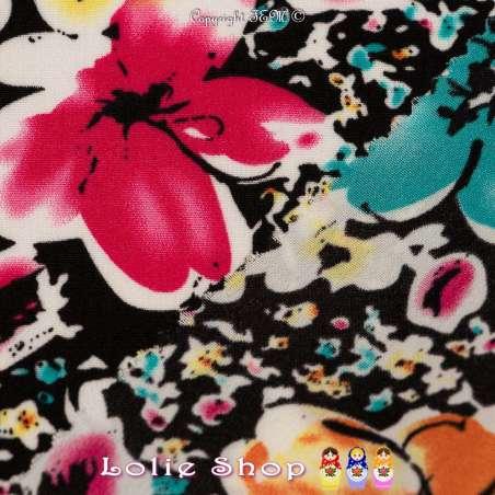 Floral Ton Turquoise Fond Noir