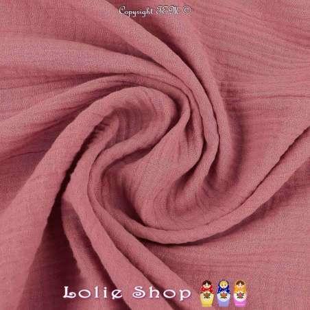 Tissu Double Gaze de Coton Uni Couleur Vieux Rose