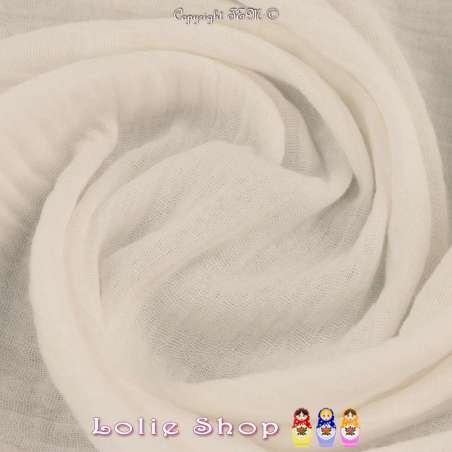 Tissu Double Gaze de Coton Uni Couleur Blanc Cassé