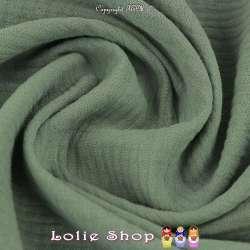 Tissu Double Gaze de Coton Uni Couleur Vert Lichen