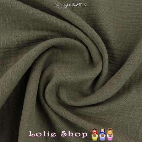 Tissu Double Gaze de Coton Uni Couleur Kaki