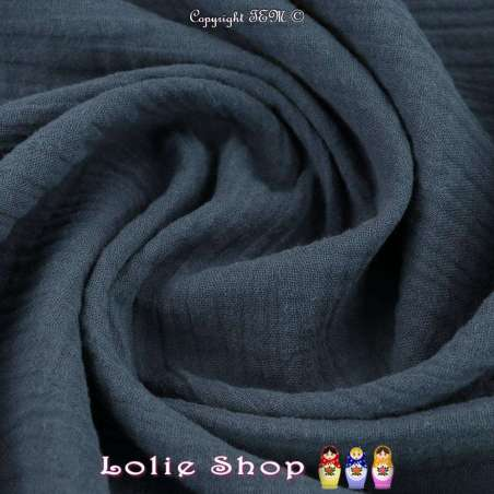 Tissu Double Gaze de Coton Uni Couleur Indigo