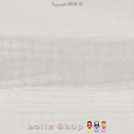 Tissu Double Gaze de Coton Uni Couleur Blanc Optique