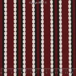 Jersey Polyester à Rayures Verticales RAVENNA Toucher texturé Pois Gaufrés Bordeaux, blanches et Noir