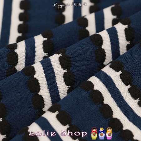 Jersey Polyester à Rayures Verticales RAVENNA Toucher texturé Pois Gaufrés Marine, blanches et Noir