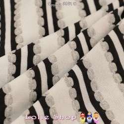 Jersey Polyester à Rayures Verticales RAVENNA Toucher texturé Pois Gaufrés , Grise blanches et Noir
