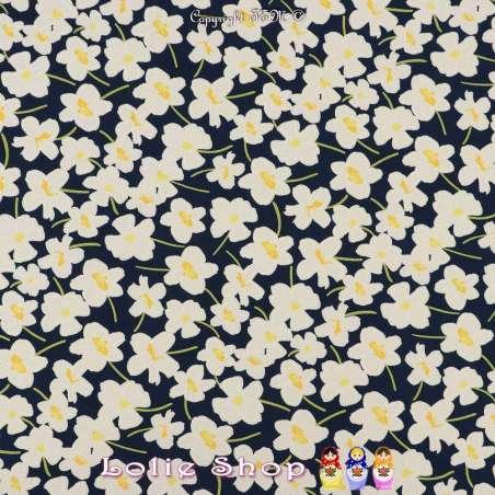 Jersey Cristal SIDONIE Imprimé Gomme Fleurs Ton Jaunes