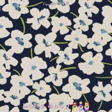 Jersey Cristal SIDONIE Imprimé Gomme Fleurs Ton Bleu