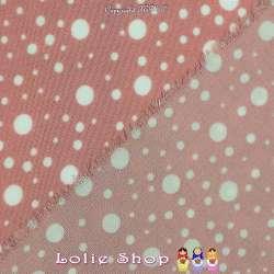 Tissu Microfibre Imprimé Pois Blanc Parsemés Fond Vieux Rose