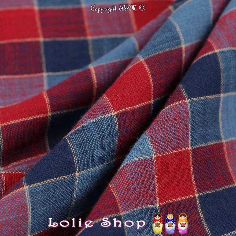 Gaze de Coton Imprimé Tartan Ton Rouge & Bleu