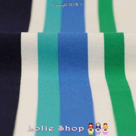 Satin de Coton Imprimé Rayures tons Bleus & Verts