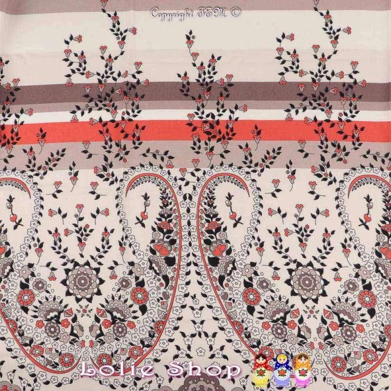 Tissu Viscose Imprimé VANESSA à Bases Ton Corail Fond Blanc