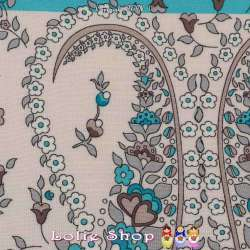 Tissu Viscose Imprimé VANESSA à Bases Ton Turquoise Fond Blanc