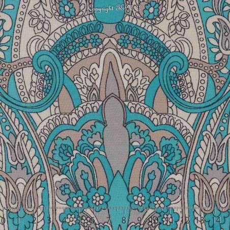 Tissu Viscose Imprimé LALY à Bases Ton Bleu Turquoise Fond Blanc