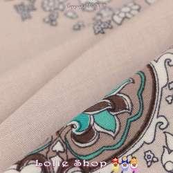 Tissu Viscose Imprimé THEA à Base Ton Vert d'eau Fond Blanc de Lin