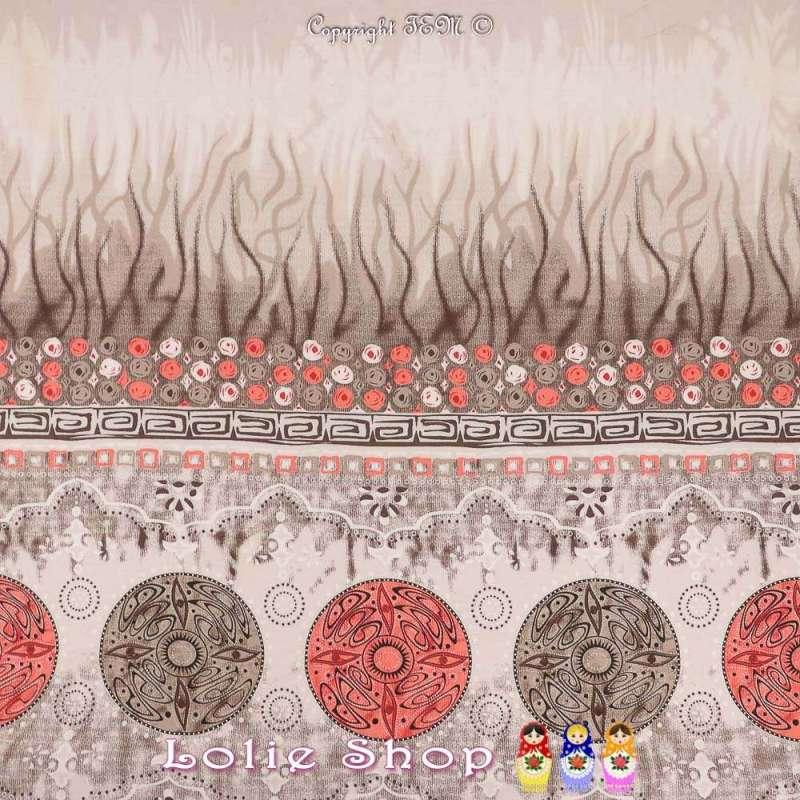 Tissu Viscose Imprimé Motif Cercles à Bases Ton Corail Fond Taupe Chiné