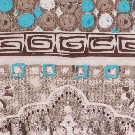 Tissu Viscose Imprimé Motif Cercles à Bases Ton Turquoise Fond Taupe Chiné
