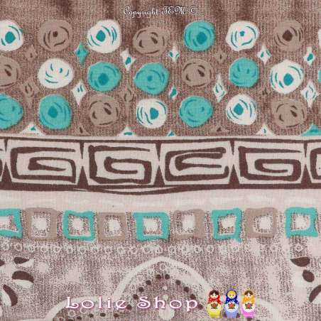 Tissu Viscose Imprimé Cercles à Bases Ton Vert d'eau Fond Taupe Chiné