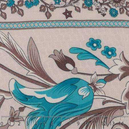Tissu Viscose Imprimé Art Perse Fleuris à Bases Ton Turquoise Fond Blanc de Lin