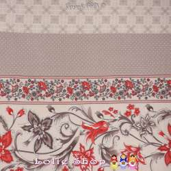 Tissu Viscose Imprimé Art Perse Fleuris à Bases Ton Corail Fond Blanc de Lin