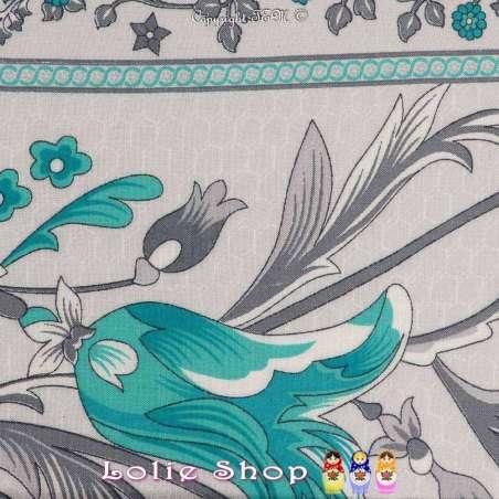 Tissu Viscose Imprimé Art Perse Fleuris à Bases Ton Vert D'eau Fond Gris Froid