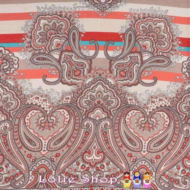 Tissu Viscose Imprimé IRIS À Base Ton Corail Fond Blanc