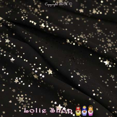 Tissu Microfibre Noir Métallisé Dorure Étoiles