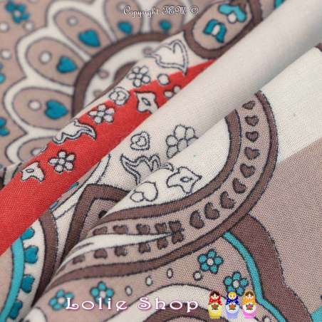 Tissu Viscose Imprimé IRIS à Bases Ton Turquoise Fond Blanc