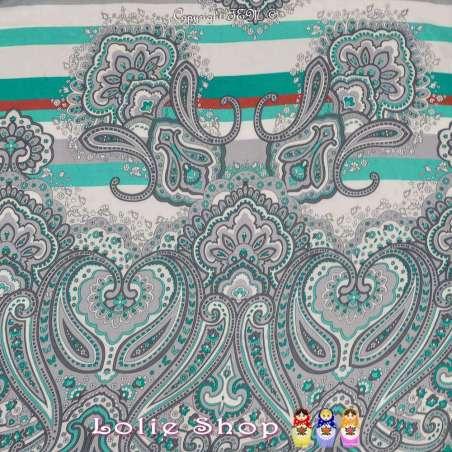 Tissu Viscose Imprimé IRIS à Bases Ton Vert D'eau Fond Blanc