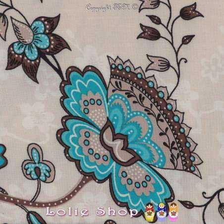Tissu Viscose Imprimé Motif Fleurs À Bases Ton Turquoise