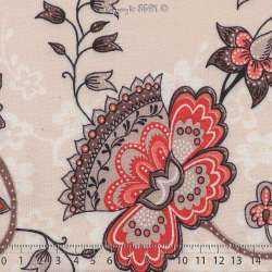 Tissu Viscose Imprimé Motif Fleurs À Bases Ton Corail