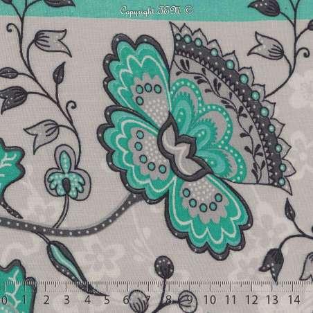 Tissu Viscose Imprimé Motif Fleurs À Bases Ton Vert D'eau