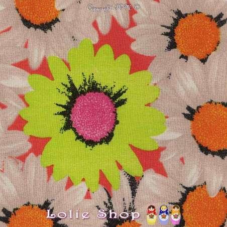 Tissu Viscose Imprimé Marguerites Fond Corail