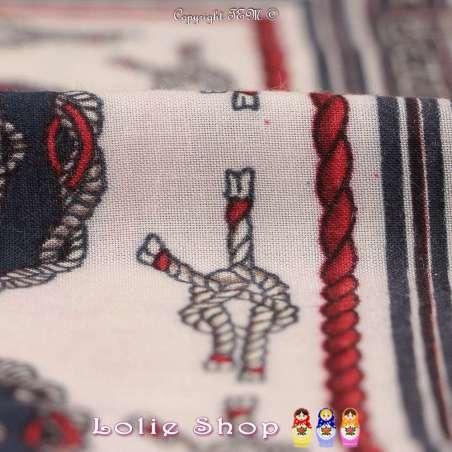 Tissu Viscose Imprimé Nœud de Carrick Ton Corail Fond Marinière