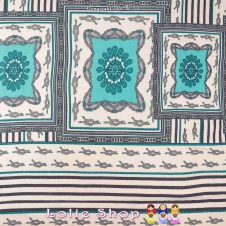Tissu Viscose Imprimé Nœud de Carrick Ton Bleu Tiffany Fond Marinière