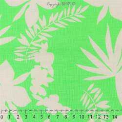 Toile Viscose Lourdes Imprimé Motif HAWAIEN Couleur Vert Fluo