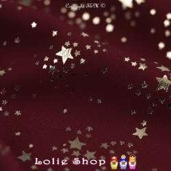 Tissu Microfibre Bordeaux Métallisé Dorure Étoiles