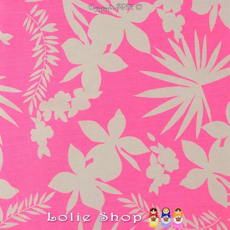 Toile Viscose Lourdes Imprimé Motif HAWAIEN Couleur Rose Fluo