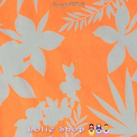 Toile Viscose Lourdes Imprimé Motif HAWAIEN Couleur Orange Fluo