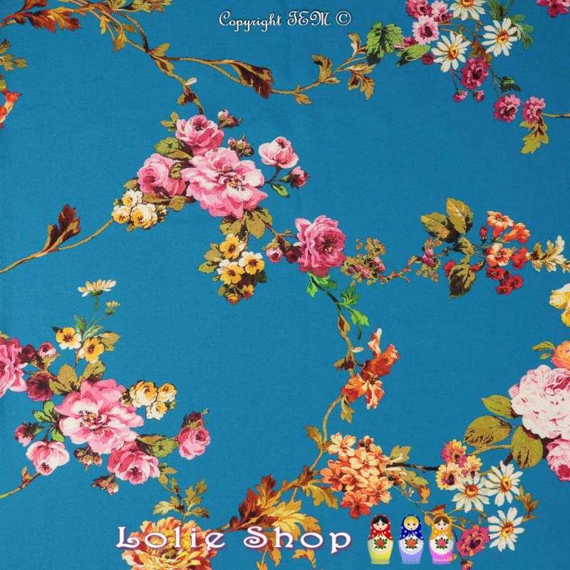 Crêpe Viscose Imprimé Modèle DELAJA Motif Florale Fond Bleu