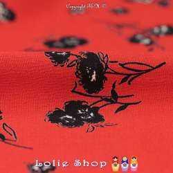 Crêpe Viscose Imprimé Modèle LADEJA Motif Florale Fond Rouge