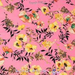 Crêpe Viscose Imprimé Modèle DELOLO Motif Florale Fond Rose